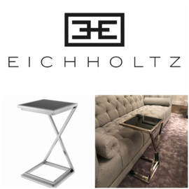 EICHHOLTZ Side Table Bijzettafel Cross (Black Glass/Nickel)