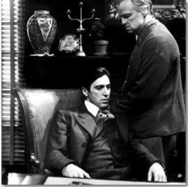 Spiegellijst met poster The Godfather | Al Pacino | Marlon Brando (50x50)