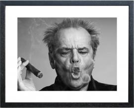 Fotolijst zwart wit foto Jack Nicholson Sigaar