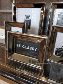 COMBI SET 5x spiegel fotolijstjes met standaard BRONS