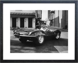 Fotolijst zwart wit foto Steve McQueen Car