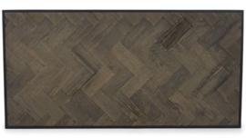 Luxe Salontafel hout visgraat zwart metaal (140x70)