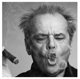 """Spiegellijst met Jack Nicholson """"Sigaar"""""""