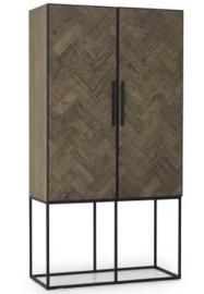 Luxe Wandkast hout / zwart metaal