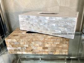 Luxe Tissuebox Schelpen - wit parelmoer