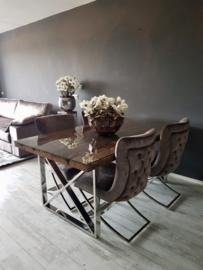 Luxe Eettafel hout /chroom