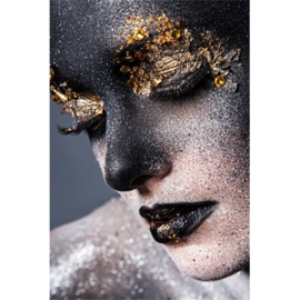 AluArt Kunstwerk - Girl black Gold Face