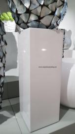 Luxe zuil sokkel in hoogglans wit (25x25x90)