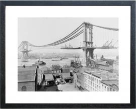 Fotolijst zwart-wit foto 'Manhatten Bridge'