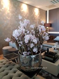 Luxe pot chroom opgemaakt met bloesems (42x33)