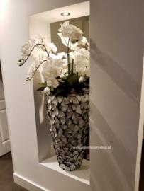 Schelpenpot hoog - zilvergrijs 100cm