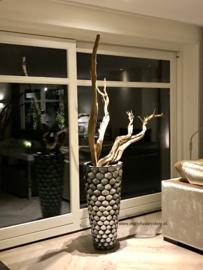 Schelpenvaas met Ghostwood (195cm) zilvergrijs