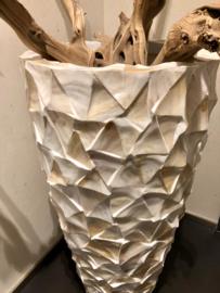 Schelpenpot hoog - wit 100cm