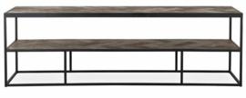 TV-Dressoir hout visgraat zwart metaal