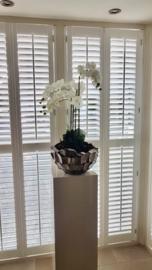 Schelpenvaas Bowl opgemaakt met orchidee - bruin/rosé