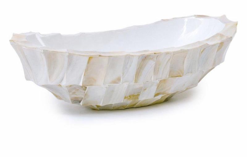 Schelpenvaas kleine boot wit