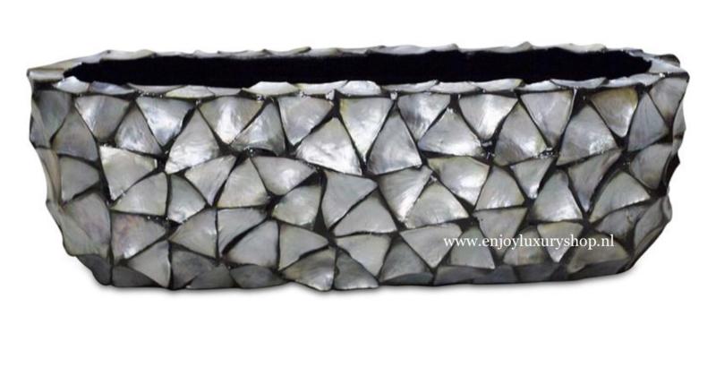 Schelpenbak breed - zilver 60cm