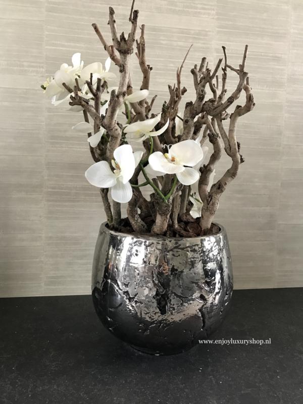 Luxe pot chroom opgemaakt met orchideeën (32x26)