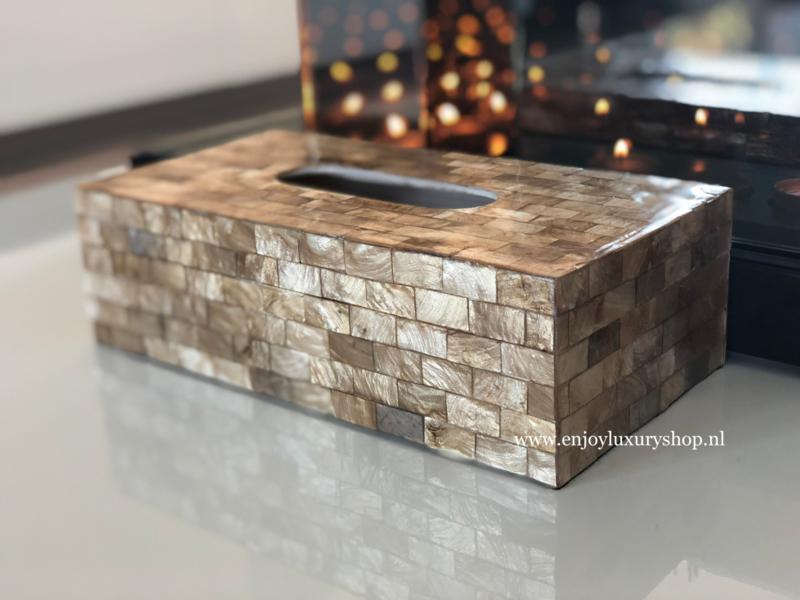 Luxe Tissuebox Schelpen - goud/brons