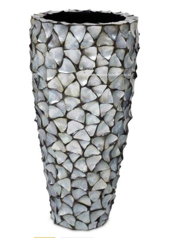 Schelpenpot hoog - zilver 100cm