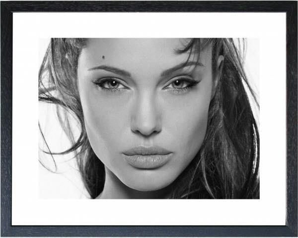 Fotolijst zwart wit foto Angelina Jolie