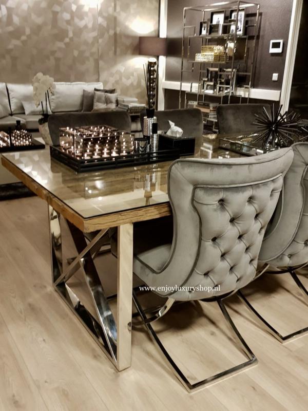 Exclusieve Houten Eettafels.Luxe Eettafel Hout Chroom Luxury Meubels Enjoy Luxury Shop
