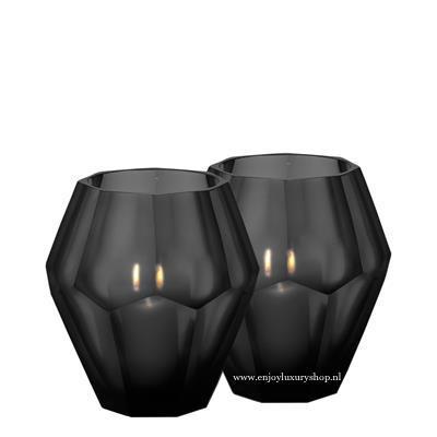 EICHHOLTZ Theelicht houder OKHTO - zwart glas (L set 2 stuks)
