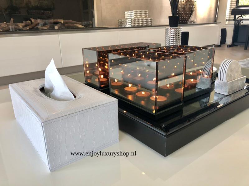 Luxe Tissue box - Tissue houder Croco wit