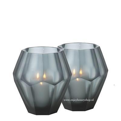 EICHHOLTZ Theelicht houder OKHTO - blauw glas (L set 2 stuks)
