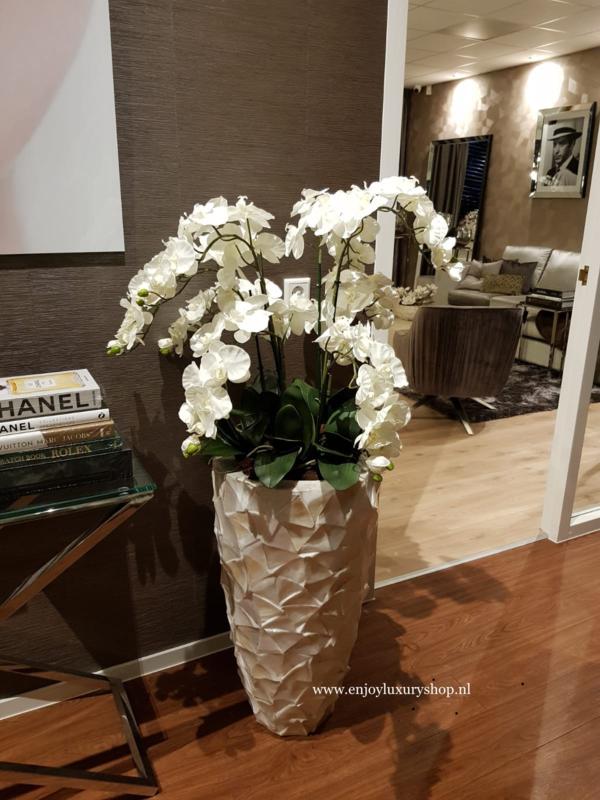 Hoge schelpenvaas (80cm) opgemaakt met orchideeën