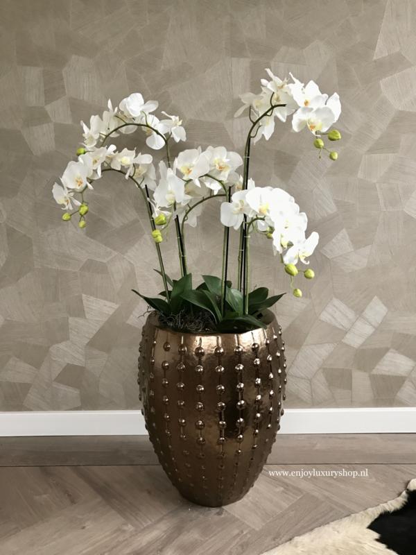 Pot brons opgemaakt orchideeën (S 55x44)