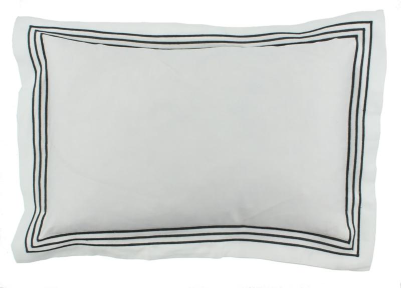 CLAUDI Dekbedovertrek KAIA - White/Dark taupe