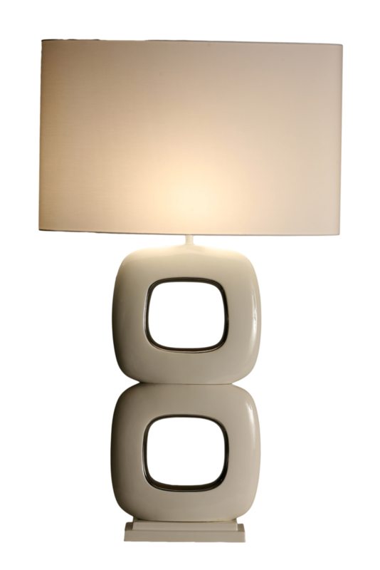 Stout Tafellamp Due Quadrato Maxime(2) wit glans