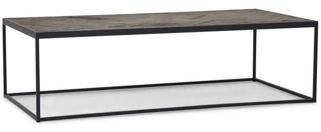 Salontafel Zwart Metaal Met Hout.Luxe Salontafel Hout Visgraat Zwart Metaal 140x70 Luxury