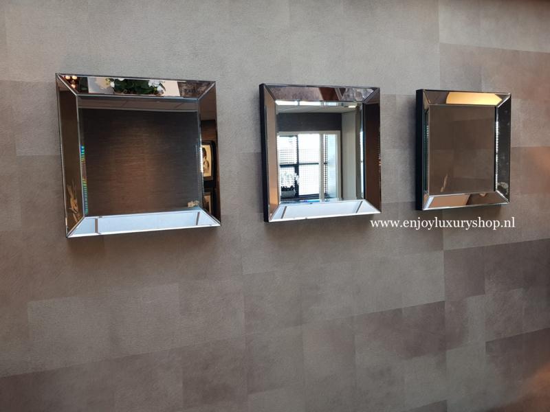 COMBI SET:  3x spiegellijst (50x50) zilver