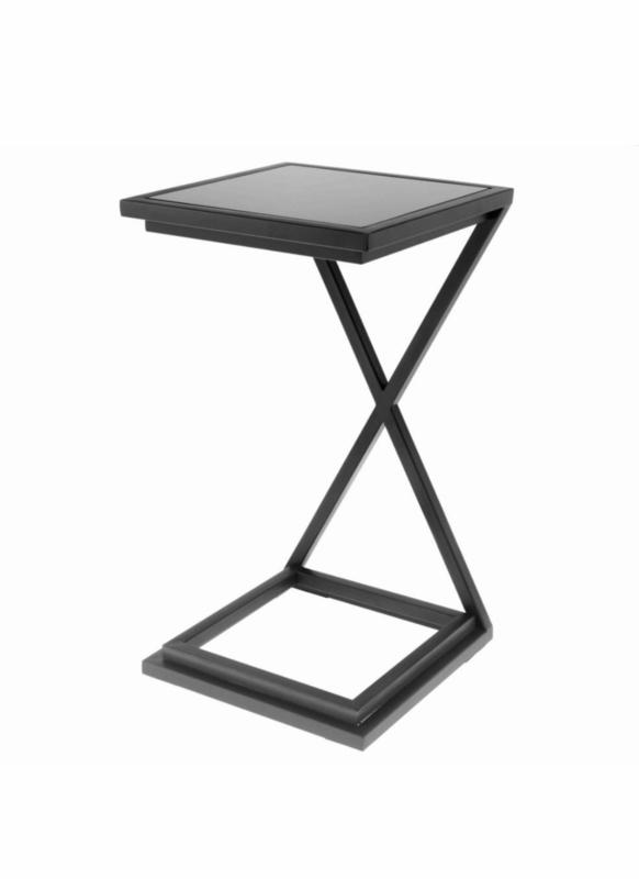 Side Table Bijzettafel.Eichholtz Side Table Bijzettafel Cross Black Black Glass