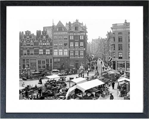 Fotolijst zwart-wit foto 'Markt Amsterdam'