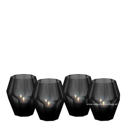 EICHHOLTZ Windlicht Theelicht houder - zwart glas (S set 4 stuks)
