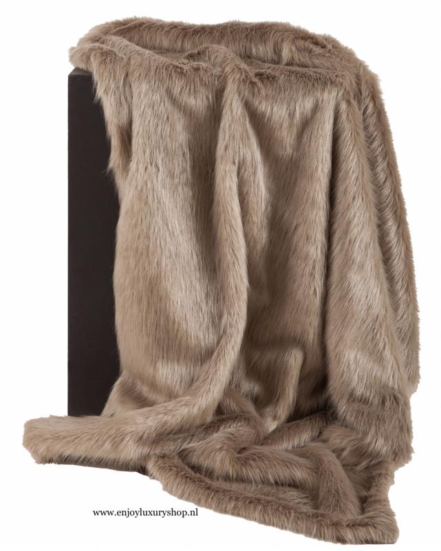 Luxe Plaid CLAUDI Bontplaid Fake Fur - Sand