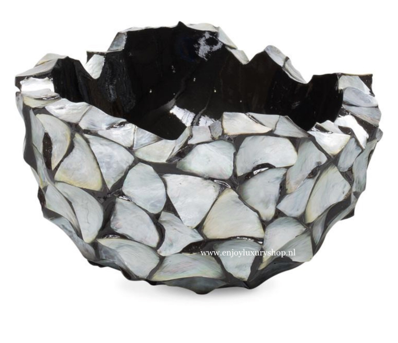 Schelpenvaas Bowl zilvergrijs - 40cm