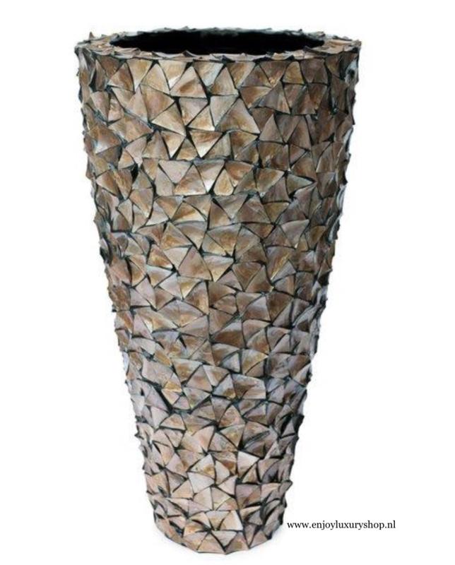 Schelpenpot hoog - bruin 140cm