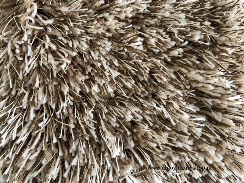 Luxe vloerkleed hoogpolig - Taupe/Brown  (EL13)