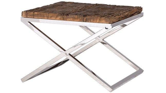 Luxe Bijzettafel hout chroom (60x60x45)
