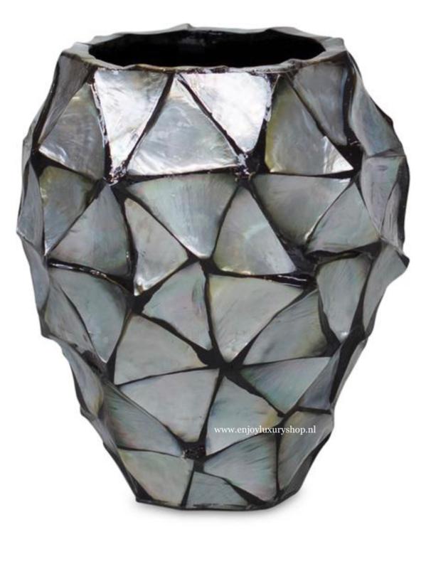 Schelpenpot klein - zilver (24x17)