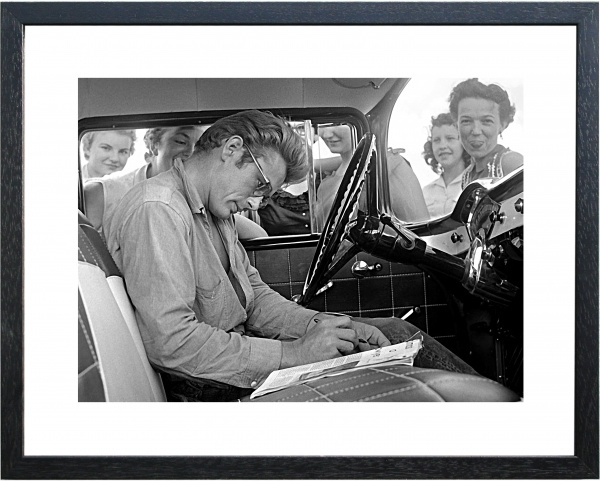 Fotolijst zwart-wit foto 'James Dean & Fans'