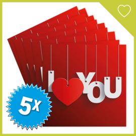 MUZIEKWENSKAART - I LOVE YOU (60 SEC.) x5