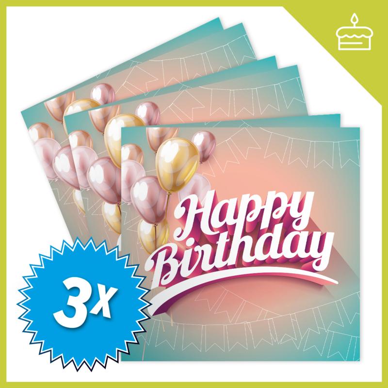 MUZIEKWENSKAART - HAPPY BIRTHDAY (60 SEC.) x3