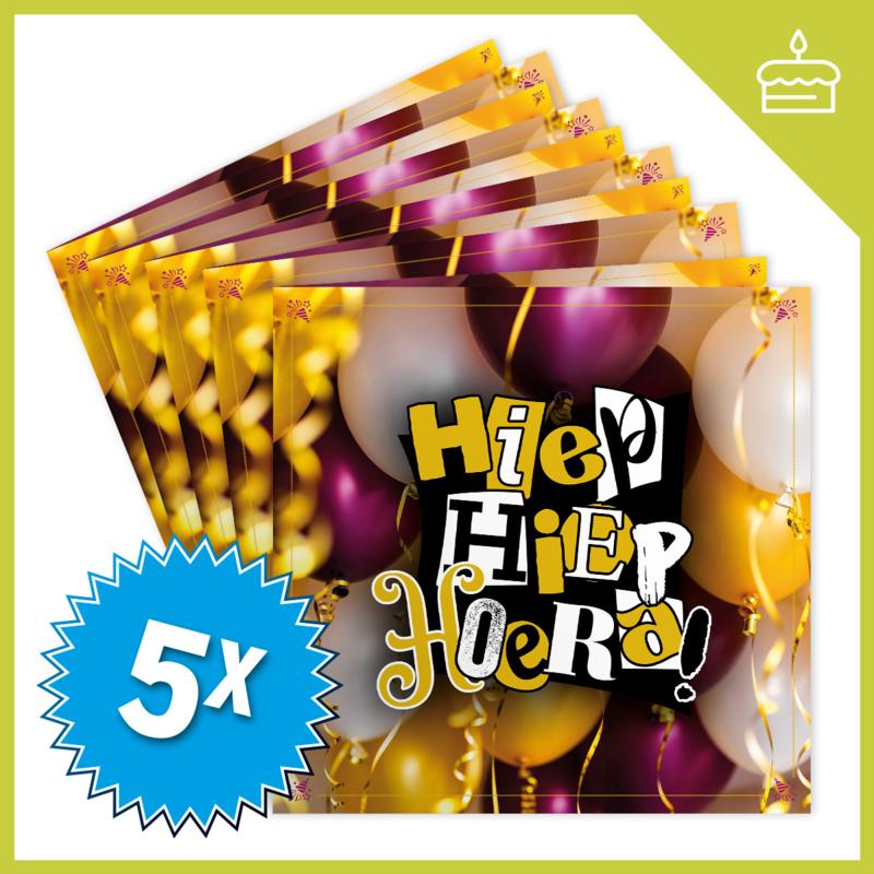 MUZIEKWENSKAART - HIEP HIEP HOERA (60 SEC.) x5