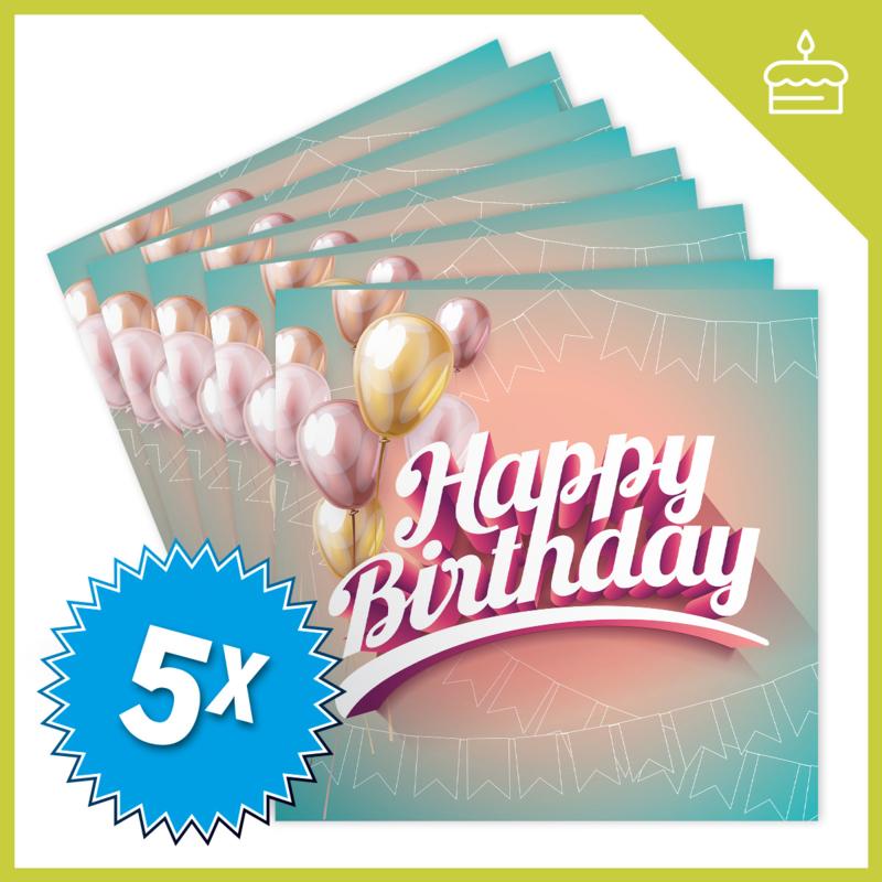 MUZIEKWENSKAART - HAPPY BIRTHDAY (60 SEC.) x5