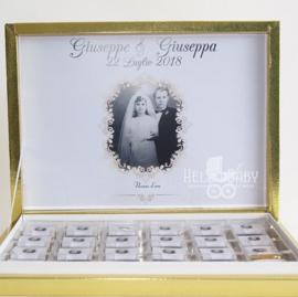 Gepersonaliseerde chocolaatjes met doos